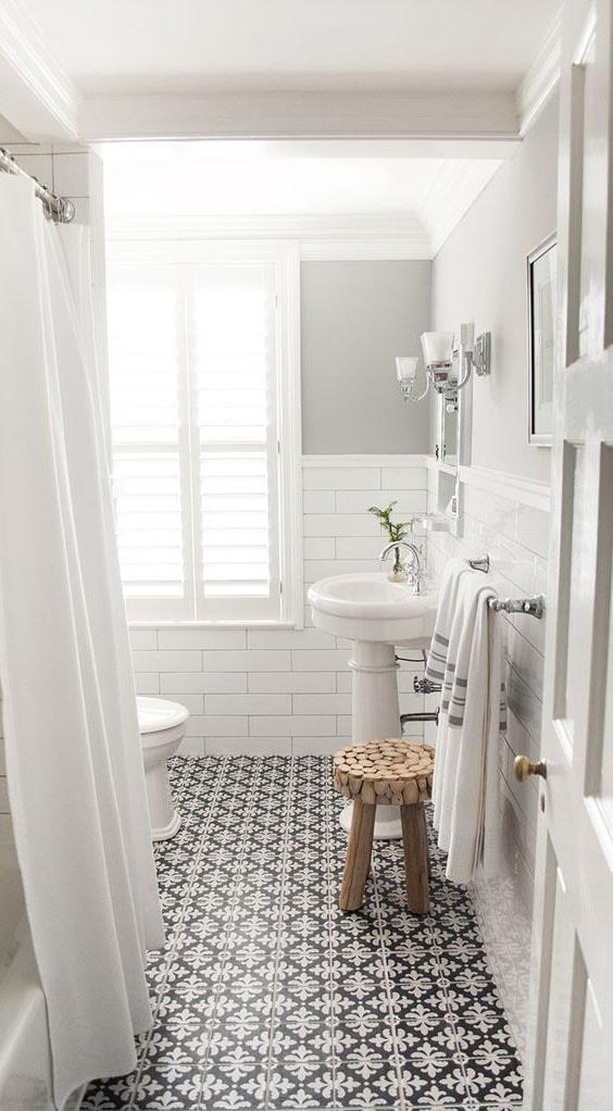 Carrellage vintage meubles salle de bain