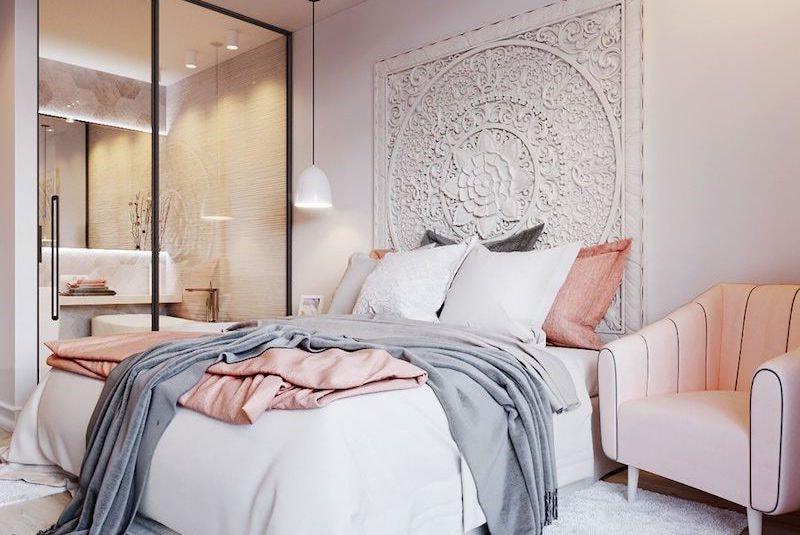Chambre Rose gris et bleu nuances