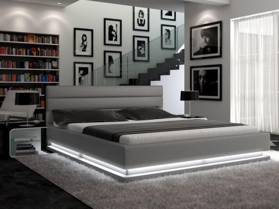 Chambre gris argent lit luminaire