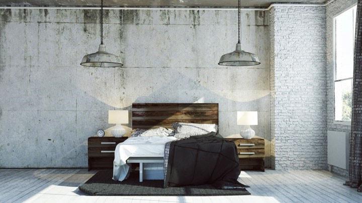 Chambre style industriel gris blanc