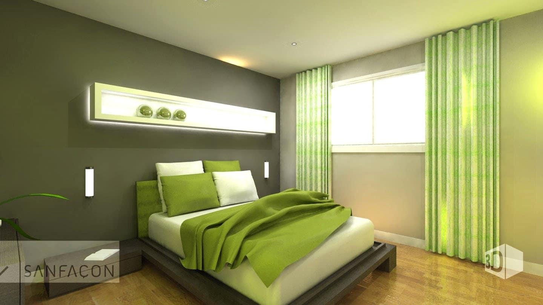 Parfait Chambre Verte Nature Gris Blanc