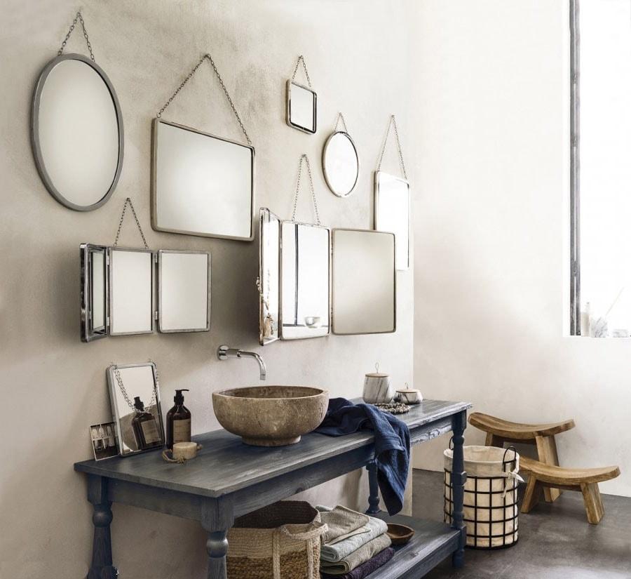 Ensemble miroir meuble salle de bain vintage