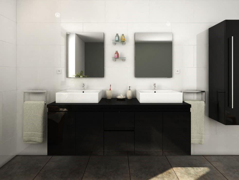 Gros meuble de salle de bain noir suspendu