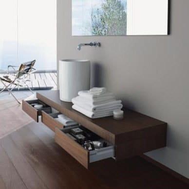 Meuble en bois suspendu pour salle de bain