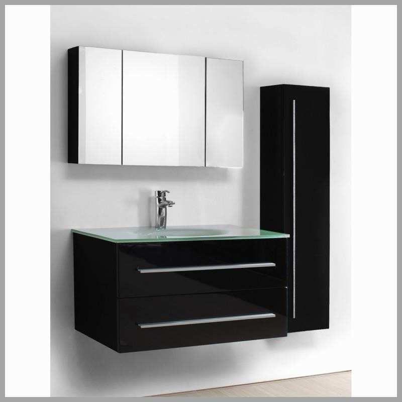 Meuble suspendu noir laqué pour salle de bain