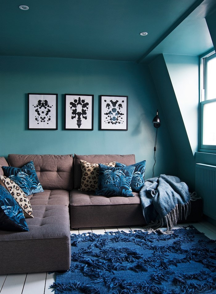Salon turquoise cocooning