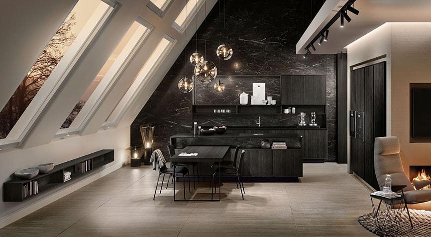 aménagement décoratif entre salon et cuisine