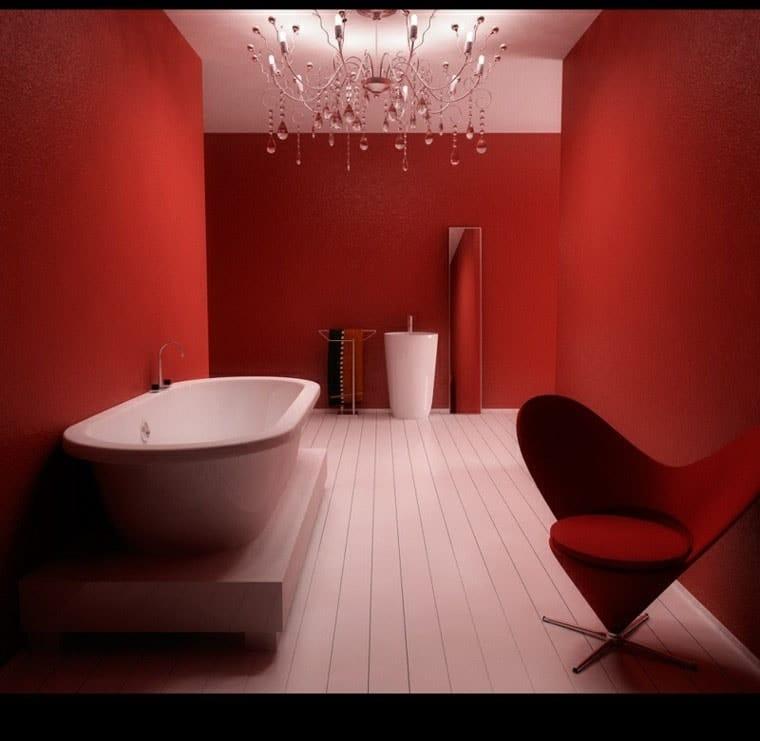 ambiance rouge peinture salle de bain