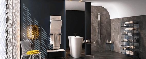 camaieu couleur bleu noir gris peinture salle de bain