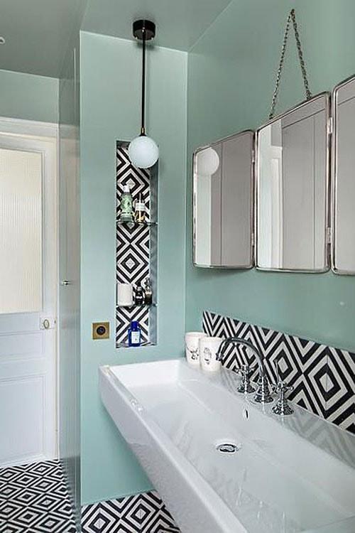 carrellage salle de bain couleur noire et turquoise