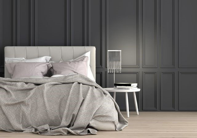 chambre luxe grise et blanche