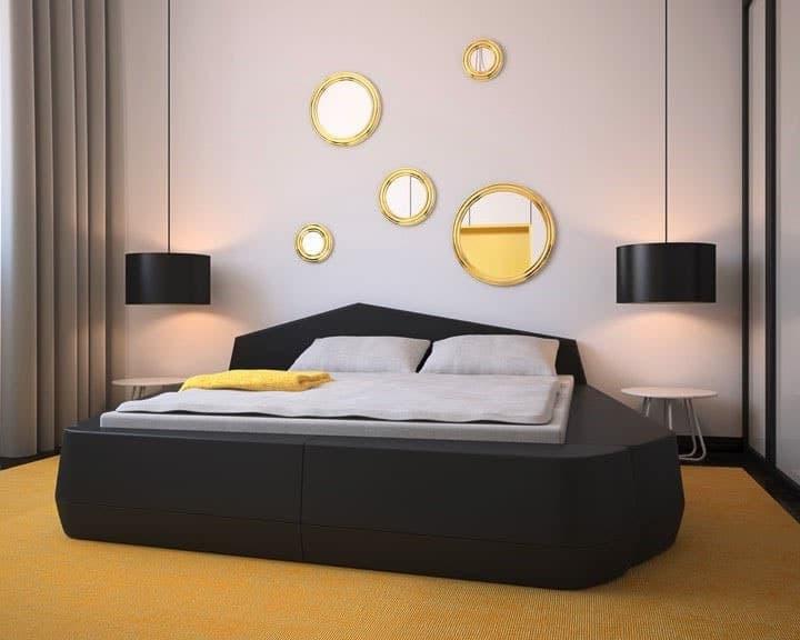 chambre moderne jaune blanc gris