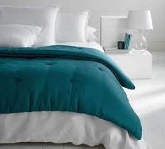 couette lit bleu canard