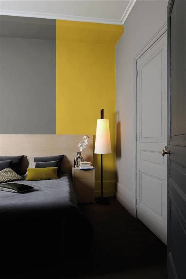 couleur chambre blanc jaune gris