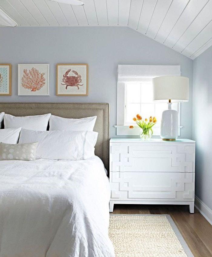 couleur chambre bleu très clair et blanc
