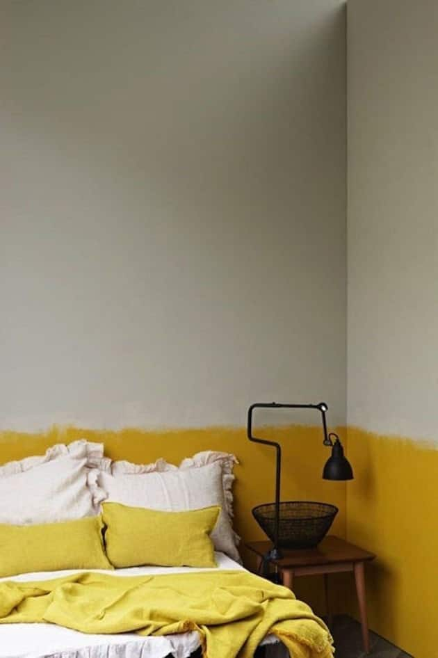 couleur chambre jaune gris