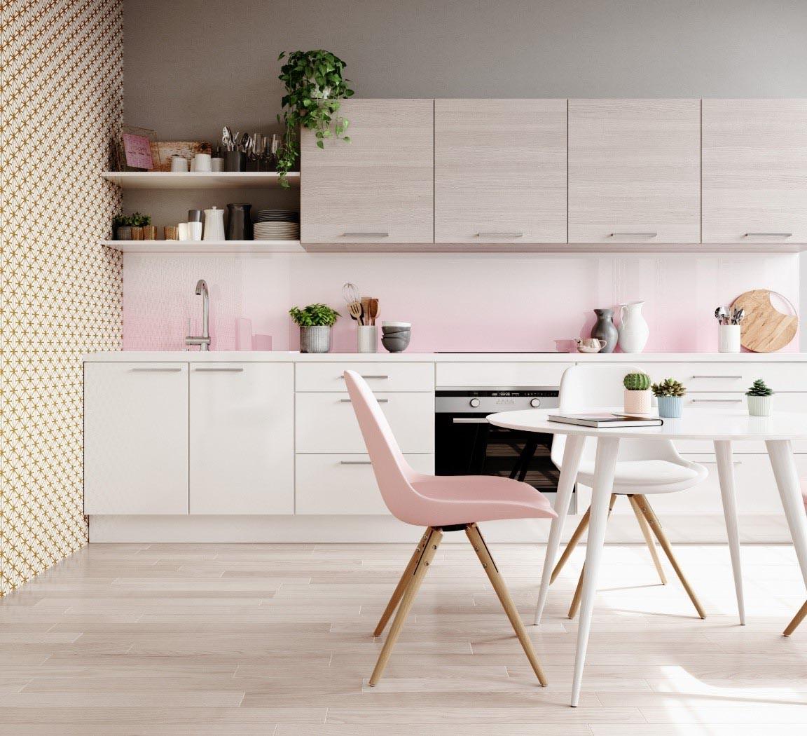 cuisine couleur rose