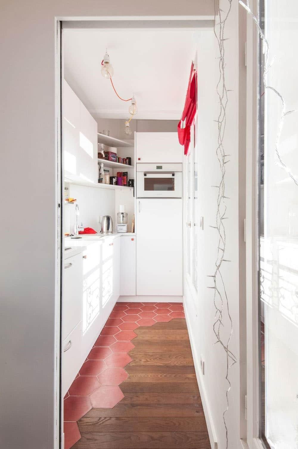 cuisine couloir credence au sol