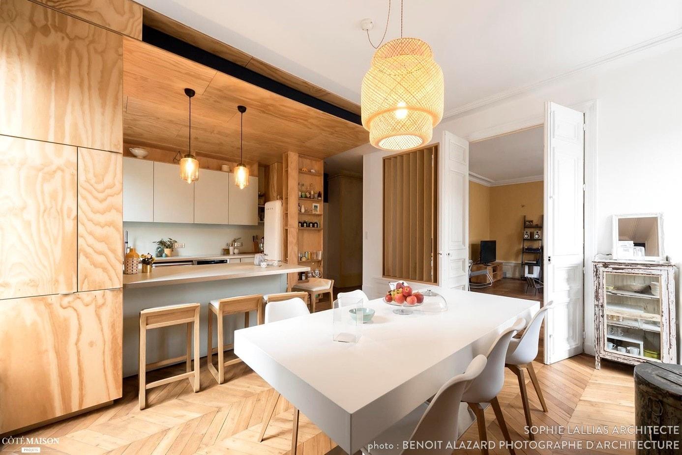 cuisine et salon d'architecte