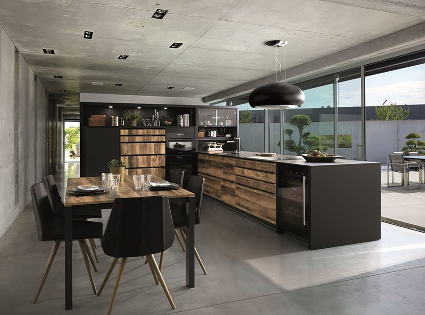 cuisine et salon noir chic