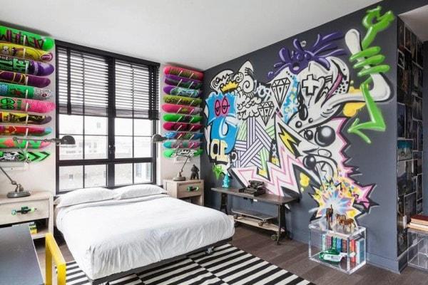 deco chambre ado urbain street art