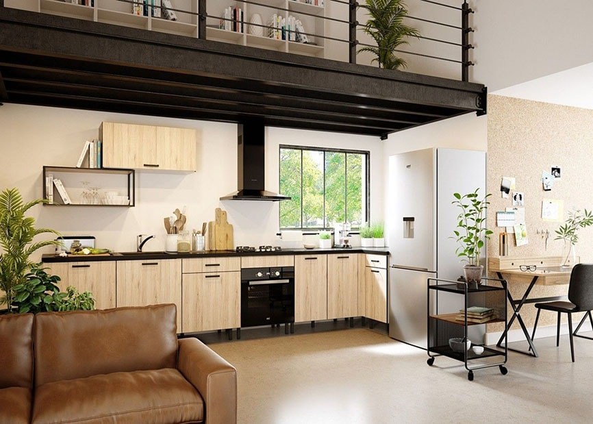 espace de vie cuisine et salon