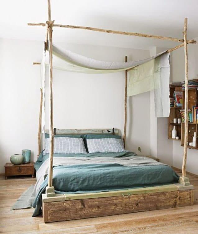 idée déco chambre pour adulte romantique avec bois