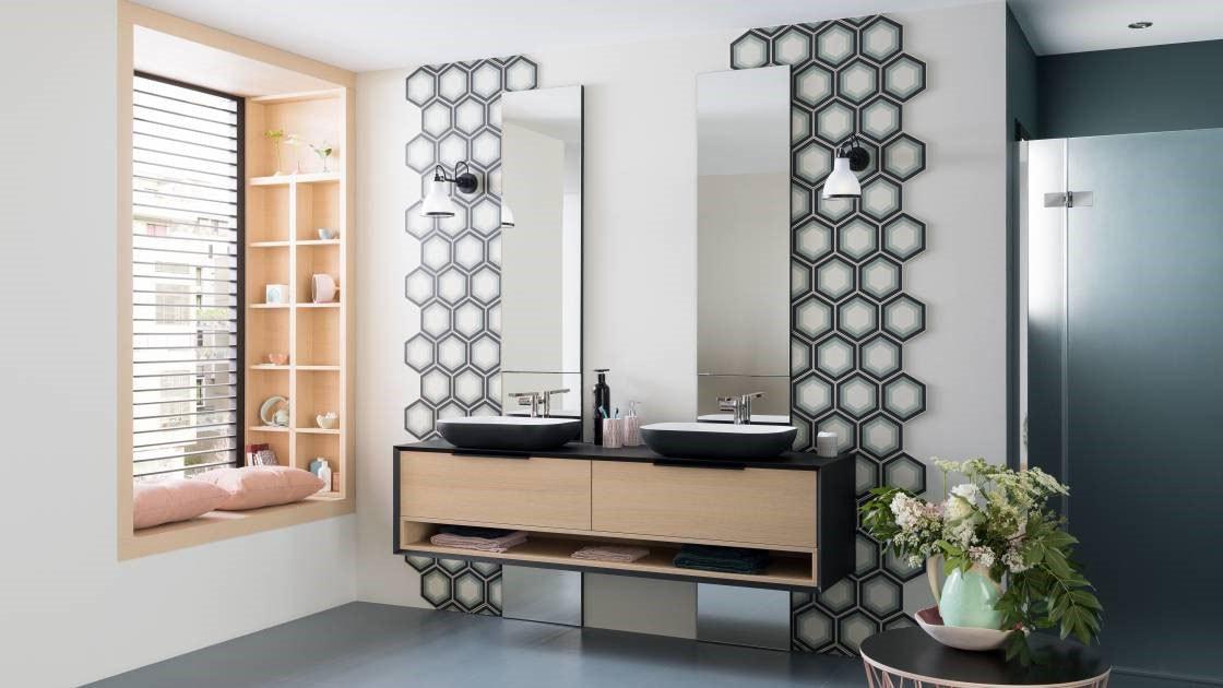 meuble salle de bain suspendu bois