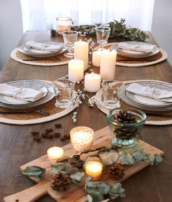 Decoration de table nature pour noel