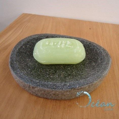 Porte-savon en pierre de rivière