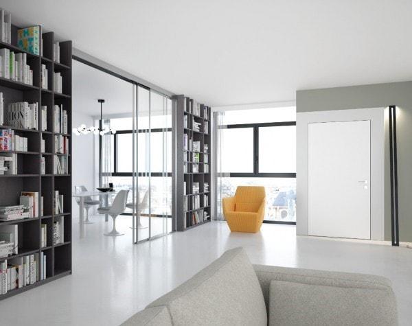 portes vitrées entre cuisine et salon