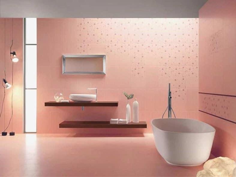 peinture rose peche salle de bain
