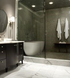 salle de bain couleur noire et grise