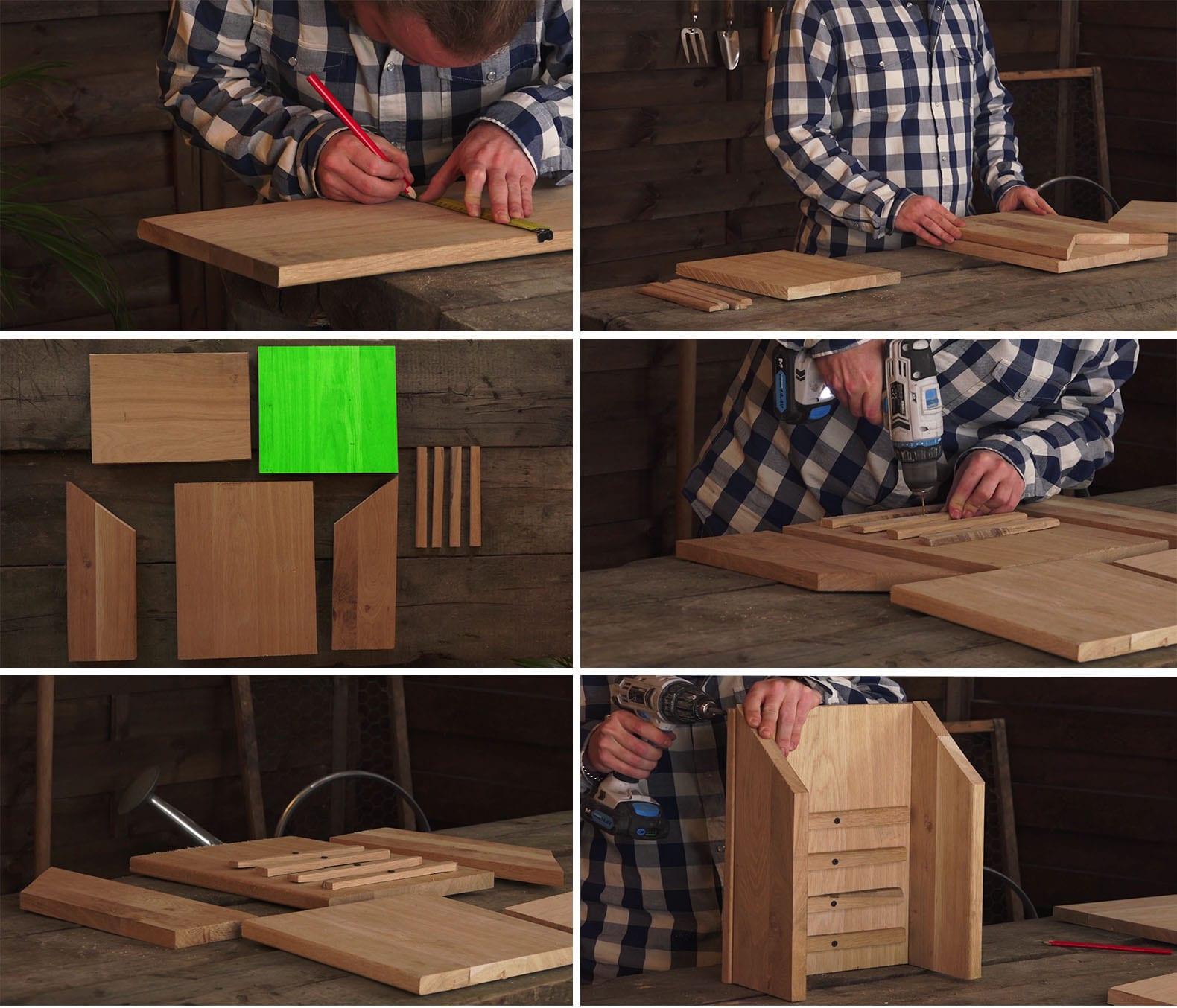 étape de la fabrication d'un abri à chauve souris