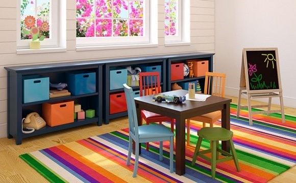 3 étagères bleues de rangement pour chambre d'enfant