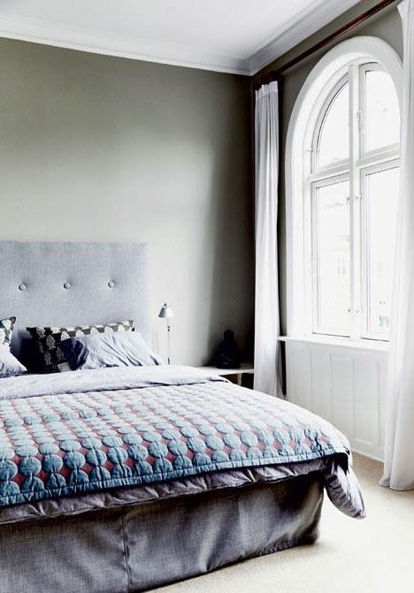 Chambre chic bleu et grise
