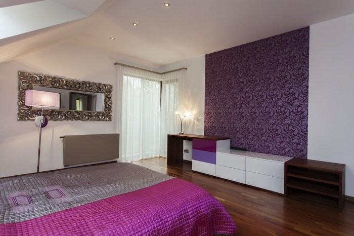Chambre grise violette et rose
