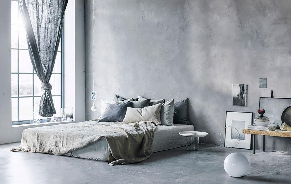 Chambre peinture moucheté grise
