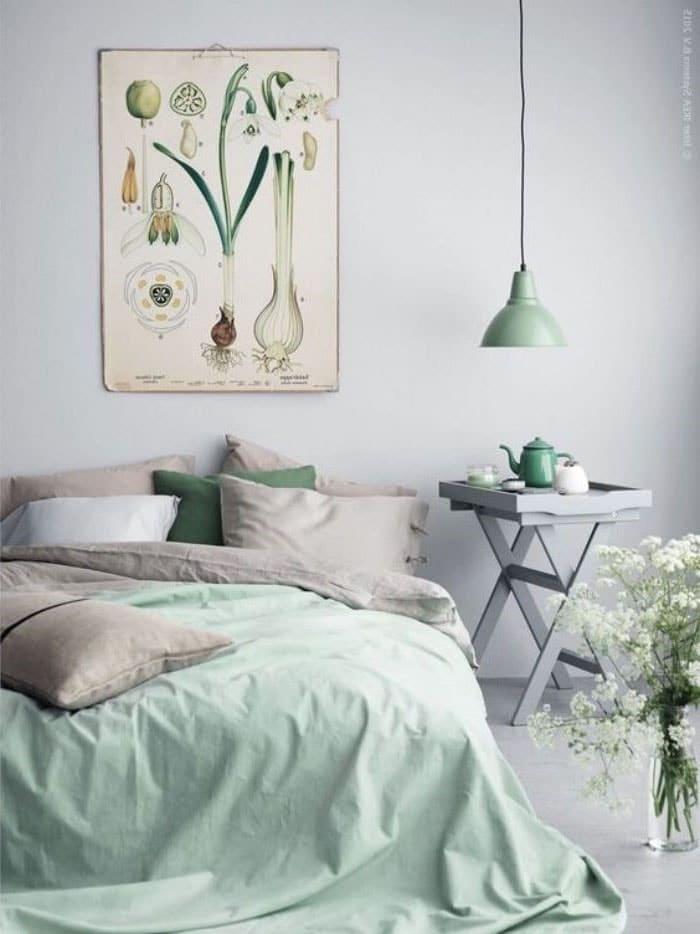 Chambre vert d'eau linge de lit