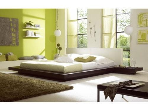 Chambre verte moderne