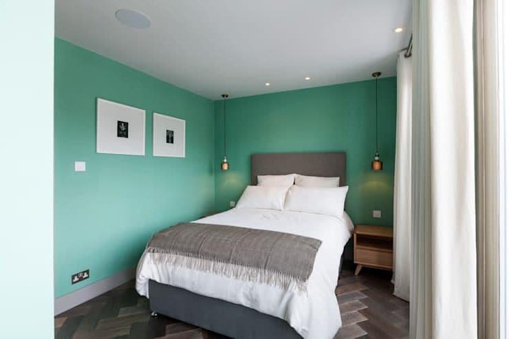 Déco chambre verte et grise