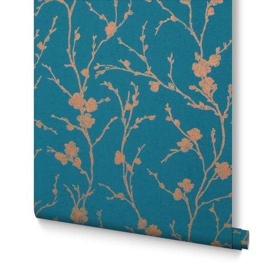 Papier peint branche de cerisier turquoise