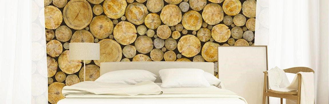 Papier peint imitation rondin de bois