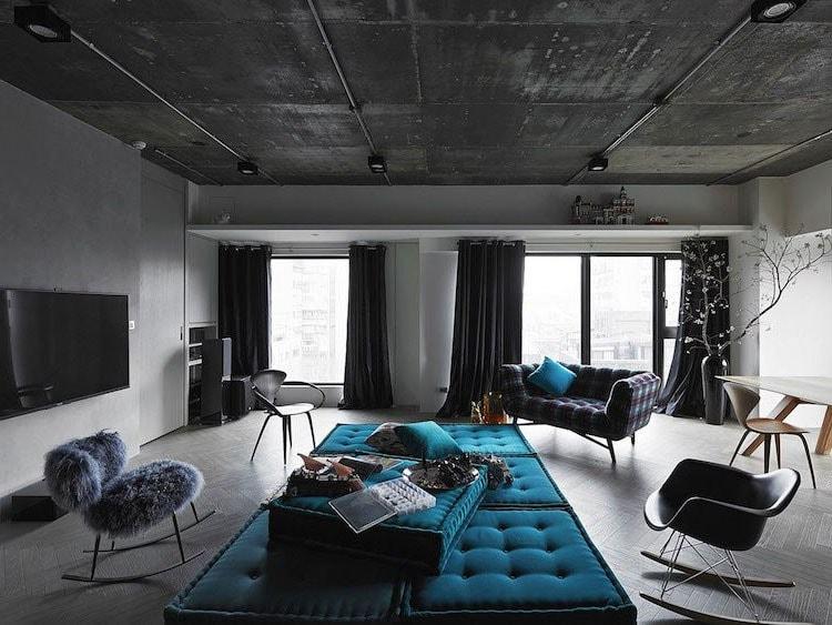 Salon gris et bleu