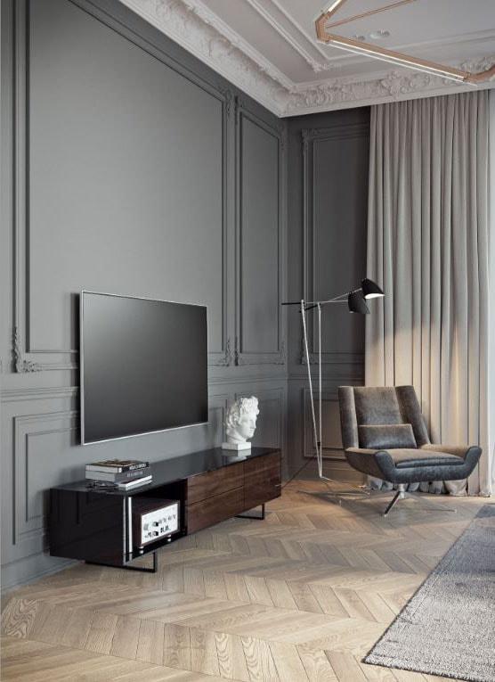 Salon gris et bois clair