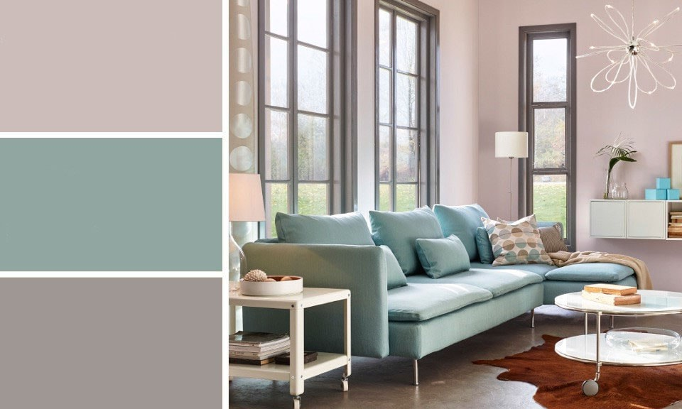 Salon gris et pastel