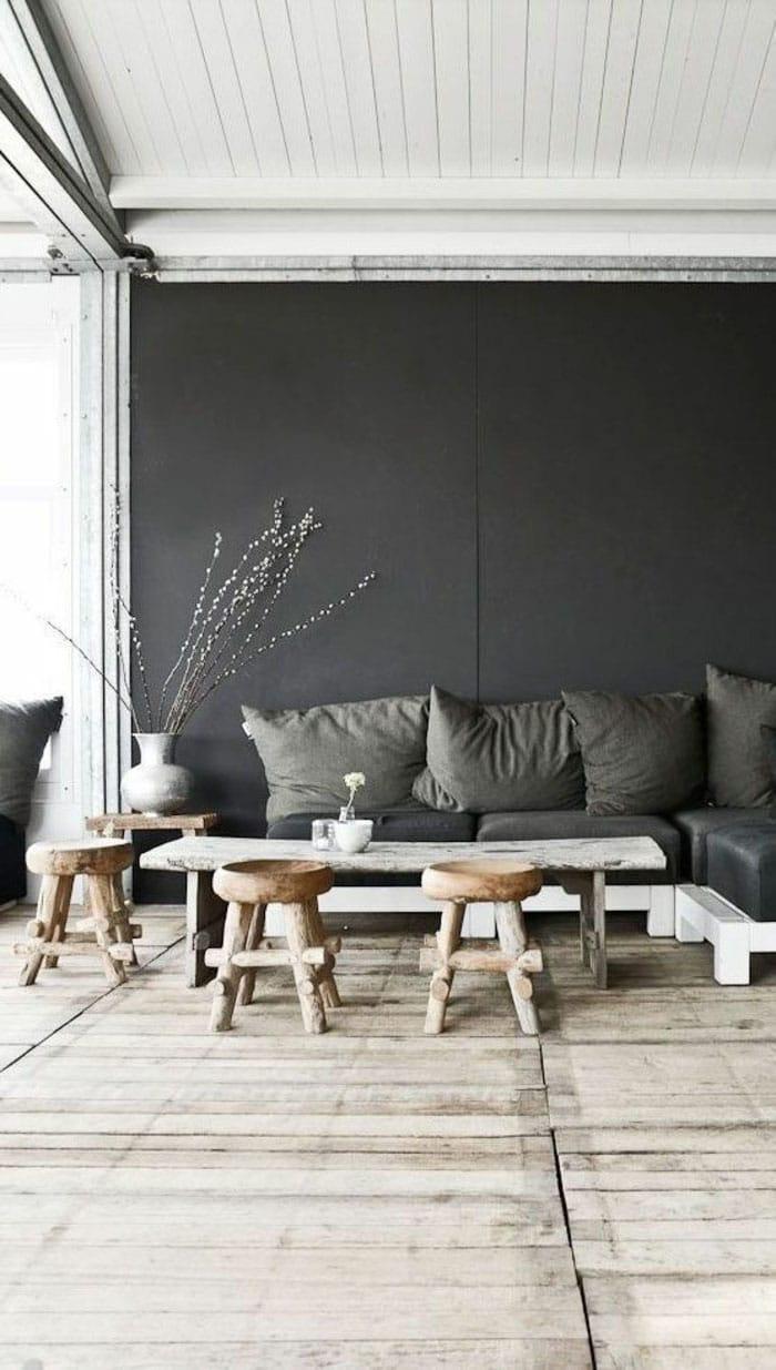 Salon gris foncé