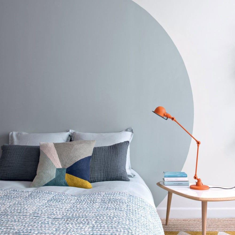 Tête de lit bleu rond
