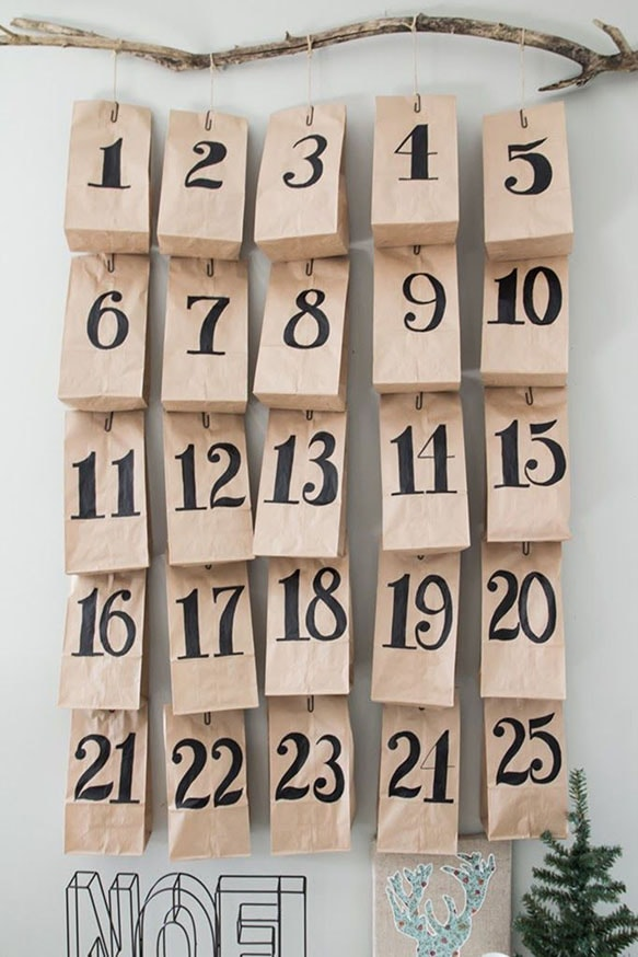 calendrier avent sachet papier kraft