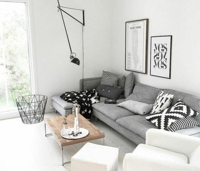 salon gris blanc noir